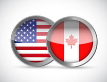 Usa and canada union seals illustration design Royalty Free Stock Photos
