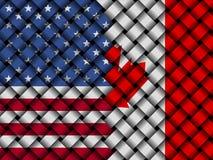 USA Canadian interwoven flags 3d illustration. American flag and Canadian flag interwoven in abstract 3d illustration Stock Images