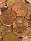 USA and Canadian pennies Royalty Free Stock Photo
