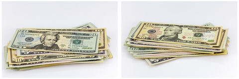 USA cash piles paper bills collage Royalty Free Stock Images