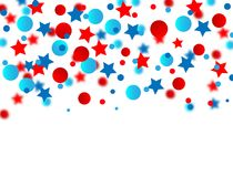 USA celebration Blue and red confetti stars in national colors for American independence day isolated on white background.  royalty free illustration