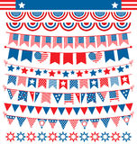 USA celebration buntings garlands flags flat national set for in Stock Photo