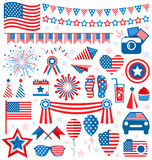 USA celebration flat national symbols set for independence day i Royalty Free Stock Photography