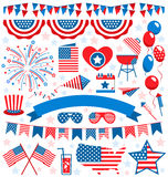 USA celebration flat national symbols set for independence day i Stock Photos