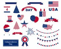 USA celebration flat national symbols set for independence day isolated on white background Stock Images