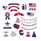 USA celebration flat national symbols set for independence day isolated on white background.  Royalty Free Stock Photo