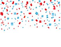 USA celebration red and blue confetti falling. Concept in national colors for American independence day, celebration event & birth. Day isolated on white Stock Photography