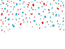 USA celebration red and blue confetti falling. Concept in national colors for American independence day, celebration event & birth. Day isolated on white stock illustration