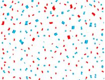 USA celebration red and blue confetti falling. Concept in national colors for American independence day, celebration event & birth. Day isolated on white Royalty Free Stock Image