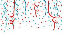 USA celebration red and blue confetti and Ribbons Falling. Concept in national colors for American independence day, celebration e. Vent & birthday isolated on Stock Image