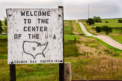 USA Center Sign. Wooden sign welcoming visitors to the geographical center of the continental United States near Lebanon, Kansas Royalty Free Stock Photography