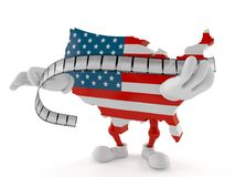 USA character holding film strip. On white background Stock Photography