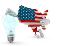 USA character with light bulb stock images