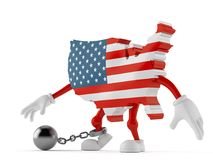USA character with prison ball Royalty Free Stock Photography