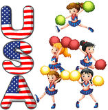 The USA cheering squad. Illustration of the USA cheering squad on a white background Royalty Free Stock Images