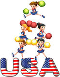 The USA cheering squad. Illustration of the USA cheering squad on a white background Royalty Free Stock Photo
