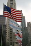 USA-Chicago-Illinois Flags. Patriotic display along the Magnificent Mile royalty free stock photos