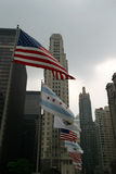USA-Chicago-Illinois Flags with Skyscrapers. Patriotic display along the Magnificent Mile royalty free stock images