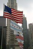 USA-Chicago-Illinois Markierungsfahnen Lizenzfreie Stockfotos