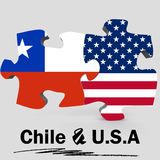 USA and Chile flags in puzzle Royalty Free Stock Images