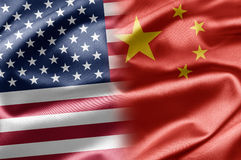 USA and China. USA and the nations of the world. A series of images with USA flag Stock Photo