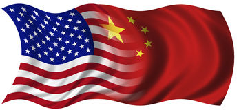 USA and China. Composited Chinese Flag and the flag of the United States of America Royalty Free Stock Image