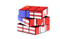 USA, China and Canada flag on a twisted puzzle. Isolated on white background. Economy and political complexity concept between. These three countries stock image