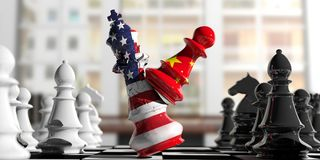 USA and China fight. China chess pawn hits US America chess king. 3d illustration. USA and China relations. China chess pawn hits US America chess king on a Stock Photo