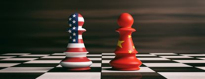 USA and China flags on chess pawns on a chessboard. 3d illustration. USA and China cooperation concept. US America and China flags on chess pawns soldiers on a Stock Photos