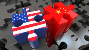 USA and China flags on puzzle pieces. Political relationship concept. 3D rendering Stock Images