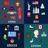 USA, China, Greece and Canada travel flat icons Royalty Free Stock Images