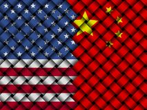 USA China interwoven flags illustration. American flag and Chinese flag interwoven in abstract 3d illustration Stock Photo
