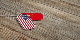 USA and China military relations, Identification tags on wooden background. 3d illustration. USA and China military relations, Identification dog tags on wooden Stock Images