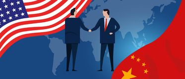 USA and China reach out their hands maing deals handshake international agreement cooperation ending trade war vector illustration