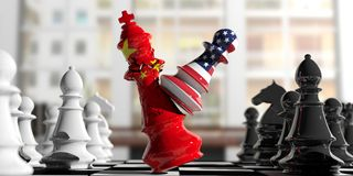 USA and China fight. US America chess pawn hits China chess king. 3d illustration. USA and China relations. US America chess pawn hits China chess king on a Royalty Free Stock Photography