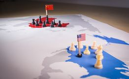 USA and China trade war concept. Tade war caused by the 2018 US tariffs on steel and aluminium Royalty Free Stock Images