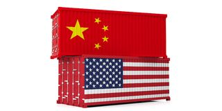 USA and China trade war. US of America and chinese flags containers isolated on white background. 3d illustration royalty free illustration