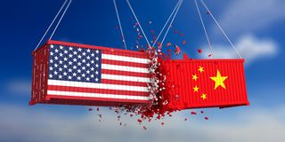 USA and China trade war. US of America and chinese flags crashed containers on blue sky background. vector illustration