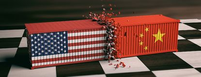 USA and China trade war. US of America and chinese flags crashed containers on chessboard. royalty free illustration