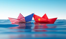US of America and chinese paper boats vector illustration