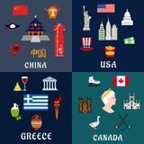 USA, Chiny, Grecja i Kanada, podróżujemy płaskie ikony ilustracji
