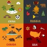 USA, Chiny, Rosja i Kanada podróży płaskie ikony, Obrazy Royalty Free