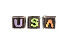 USA chocolate text Royalty Free Stock Photo