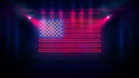USA chorągwiany neonowy znak Dnia usa świątecznie tło royalty ilustracja