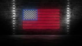 USA chorągwiany neonowy znak Dnia usa świątecznie tło ilustracji