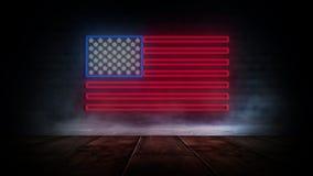 USA chorągwiany neonowy znak Dnia usa świątecznie tło ilustracja wektor