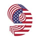 USA chorągwiany 3d liczba 9 łaciński abecadło Textured chrzcielnica Obraz Royalty Free