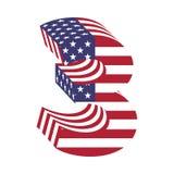 USA chorągwiany 3d liczba 3 łaciński abecadło Textured chrzcielnica Obrazy Royalty Free