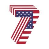 USA chorągwiany 3d liczba 7 łaciński abecadło Textured chrzcielnica Fotografia Royalty Free