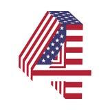 USA chorągwiany 3d liczba 4 łaciński abecadło Textured chrzcielnica Zdjęcie Royalty Free